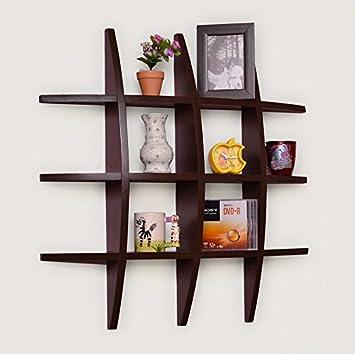 usha furniture home dcor globe shape floating diy wall shelves rack brown wall shelf rack - Amazon Home Decor
