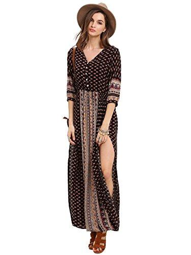 romwe-womens-summer-casual-half-sleeve-vintage-print-split-maxi-dress-black-m