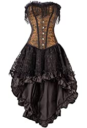 Black Corset Top with Brown Patterned Flower Detail with Skirt
