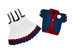Mayra Knits Baby Girl Wool Dress & Jacket Set_MKGD06_White & Blue_6 to 12 months