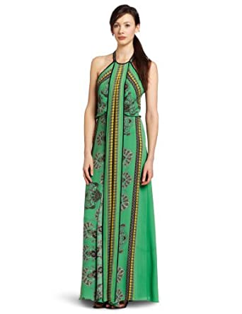 BCBGMAXAZRIA Women's Arlenis Printed Halter Evening Gown, Kelly Green, 0