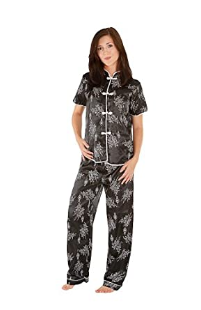 Del Rossa Women's Short Sleeved Satin Chinese Inspired Pajama Set, Small Black (A0728BLKSM)
