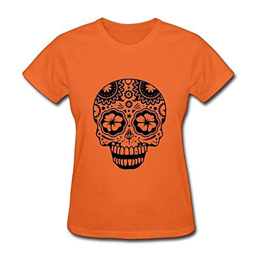 Shmuy Women'S Sugar Skulls Cotton Round Collar T Shirt,Xxl,Orange
