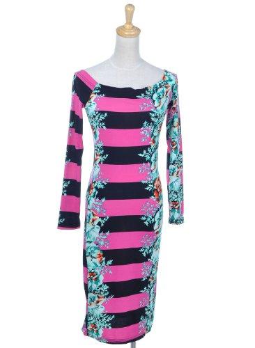 Anna-Kaci S/M Fit Black Pink Thick Striped Turquoise Floral Print Slim Fit Dress