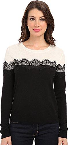 Vince Camuto Women's L/S Colorblock Sweater w/ Lace Trim Rich Black Sweater XS