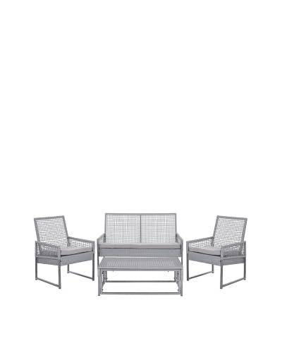 Safavieh Shawmont 4-Piece Outdoor Set, Grey/Grey