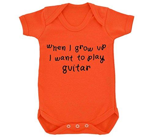 When I Grow Up I Want To Play-Body per neonato, motivo: chitarra, colore: arancione/nero arancione 6-12 mesi