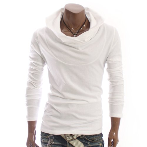 Mens Casual Luxury Shirring Turtle neck Hoodie Shirts WHITE(STN)