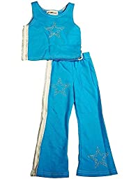 NY Girls\'.com - Little Girls\' 2-Piece Pant Set, Blue, White 6270-6X
