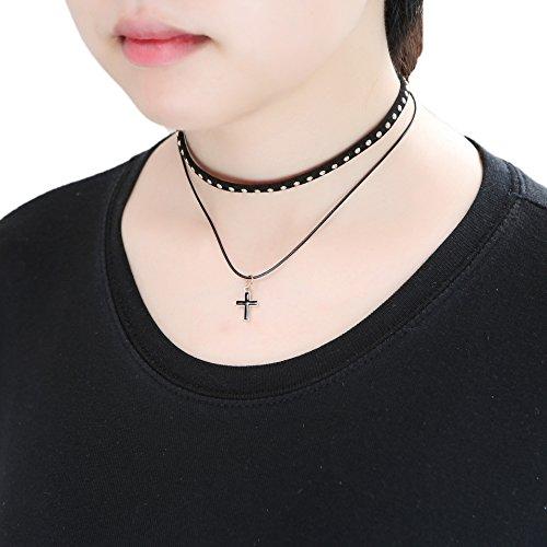 [Leather Chain Necklace for Women Girls Gothic Choker Tassel Necklace Velvet Length Adjustable by D.B.MOOD Rivets &] (Best Dance Moms Costumes)