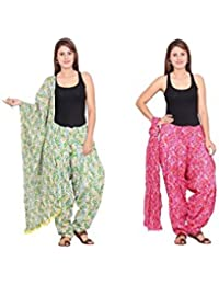Rama Set Of 2 Abstract Design Green & Pink Colour Cotton Full Patiala With Dupatta Set