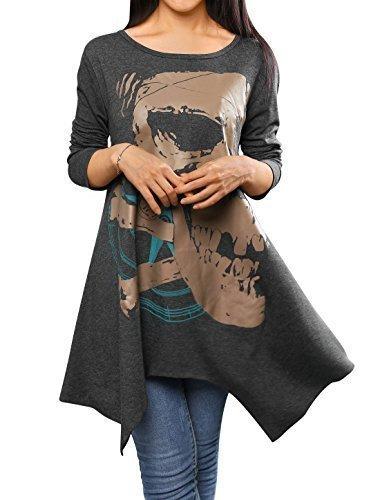 allegra-k-ladies-skull-pattern-handkerchief-hem-loose-tunic-grey-xl
