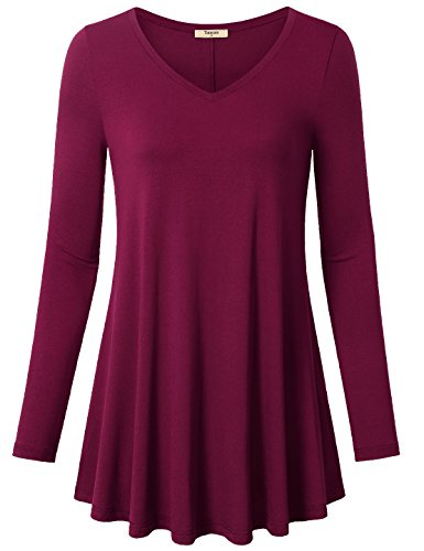 Timeson-Womens-V-Neck-Long-Sleeve-Shirt-Flowy-A-Line-Casual-Tunic-Tops
