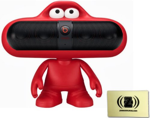 Beats By Dr. Dre Pill Portable Speaker (Black) Bundle With Beats Pill Dude (Red) And Custom Designed Zorro Sounds Cleaning Cloth
