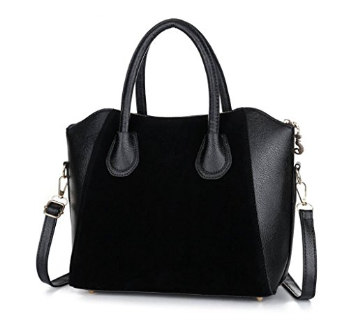 Hot Sale! Bag fashion bags patchwork nubuck leather women's handbag smiley shoulder bags (Black color)