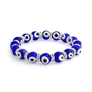 Bling Jewelry Evil Eye Beads 10mm Dark Blue Stretch Swarovski Crystal Bracelet