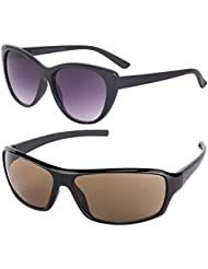 New Stylish UV Protected Combo Pack Of Sunglasses For Women / Girl ( BlackCateye-BrownWrap ) ( CM-SUN-016 )