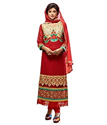 Monalisa Fabrics Women's Unstitched Dress Material (2254118_Red _Free Size)