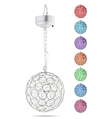 EShing Outdoor Hanging Decorative Sparkling Crystals Gazing Ball with Solar Powered Color Changing LED Light