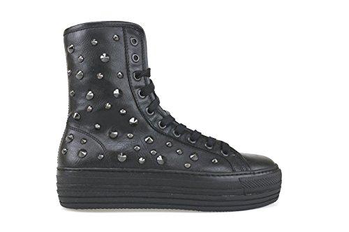 scarpe donna CULT sneakers alti stivaletti nero pelle borchie AK800 (39 EU)