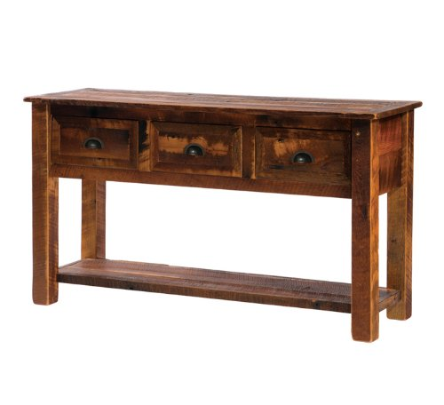 Cheap Fireside Lodge Barnwood 3 Drawer Console Table (B14140-Config)