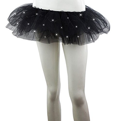 [SMMER Women Led Light Up Neon Rainbow Party Dance Tutu Skirt] (Light Up Black Tutu)