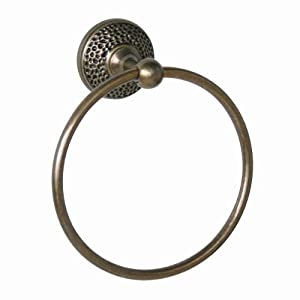 Elegant Home Fashions Hammer Towel Ring, Antique Brass