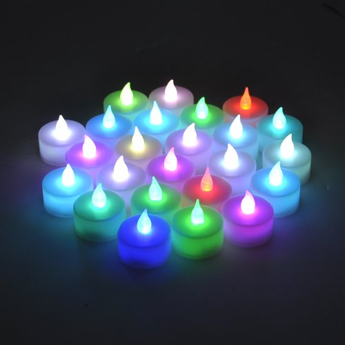 Instapark® Lcl-C24 Battery-Powered Flameless Color-Changing Led Tealight Candles, Two Dozen Pack