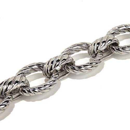 Amythyst Silver Tone Stainless Steel Textured Long, Rolo Link Rolo Ankle Bracelet (10 Inches)