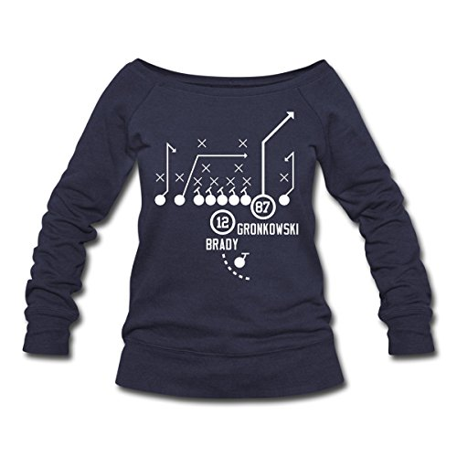 Spreadshirt Women'S Throw It Deep (Tom Brady... Sweatshirt, Melange Navy, S
