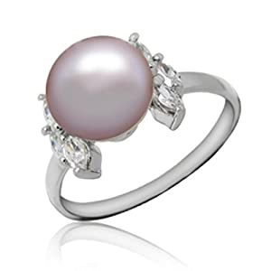 8mm Stunning Pearl Cubic zirconia Crystal Gem stone 925 Sterling pure Silver platinum white gold plated ring 016