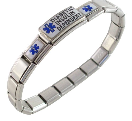 Diabetic Insulin Dependent Medical Italian Charm Bracelet Blue (Italian Dependent compare prices)