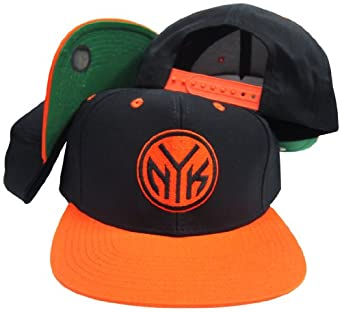 New York Knicks Black Orange NYK Adjustable Vintage Snapback Cap by adidas