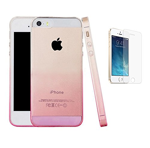ISENPENK-Apple-iphone-55sSE-Hlle-SilikonUltra-slim-Transparent-Gradient-Soft-TPU-HandyhlleThin-Silicone-Clear-Case-Durchsichtig-Weichem-Silikon-Tasche-fr-iphone-55sSE-40-Zoll-gradient-rosa-Panzerglas-
