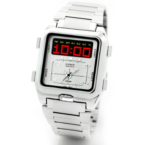 Alienwork SEG Analogue-Digital LED Watch Chronograph Multi-function Stainless Steel white silver