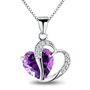 FLORAY Woman's Purple Heart Crystal with Silver Heart Pendant Necklace, Sterling Silver Chain. Free Blue Jewellery Box, Beautiful Gift for Girls. Length:45cm