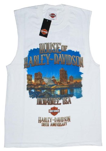 House of Harley-Davidson® Skyline Men's Sleeveless Harley-Davidson® Bar & Shield Logo 110th Anniversary T-Shirt. House of Harley-Davidson® Graphics Front and Back. White. Tee. 302962620