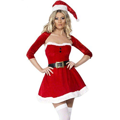 Y&T Sleigh Belle Costume for Christmas Velvet Beauty Santa Girl Boot Cover (Sleigh Belle Sexy Costume)