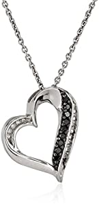 Sterling Silver Black and White Diamond (1/10cttw, I-J Color, I2-I3 Clarity) Heart Pendant Necklace, 18