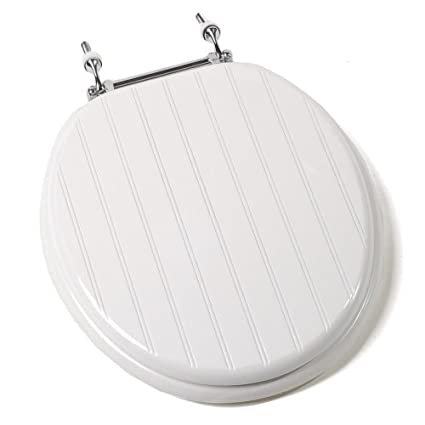 wooden toilet seat hinges. Comfort Seats C1B4R4 00CH Deluxe Molded Wood Toilet Seat with Chrome Hinges  Round White Bead Board Most Regular Preferred by Many of Us Decorations