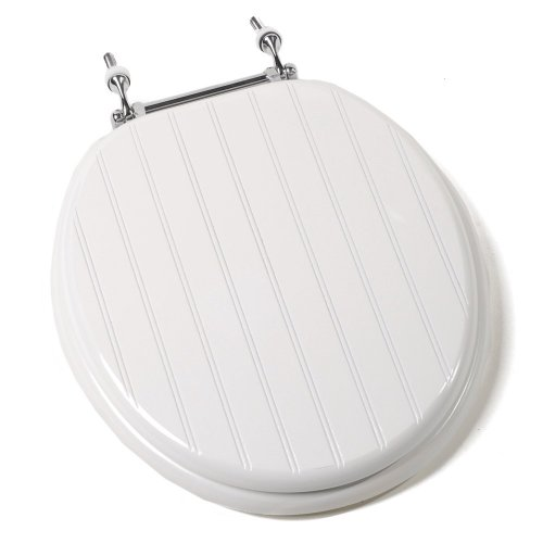 Comfort Seats C1B4R4-00CH Deluxe Molded Wood Toilet Seat with Chrome Hinges, Round, White Bead Board (Toilet Seat Cover Chrome compare prices)