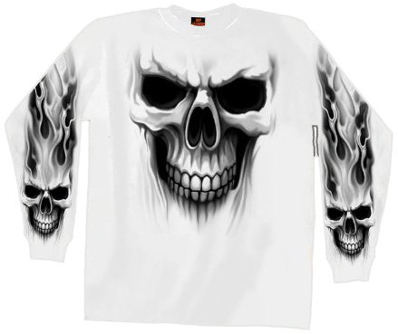 Hot Leathers Ghost Skull Long Sleeve T-Shirt (White, Large)