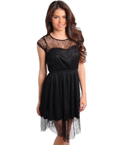 2Luv Women'S Sweetheart Cap Sleeve Lace Dress Black S(It9156)