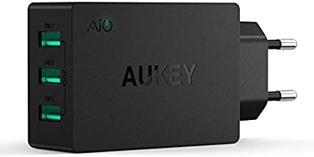 Aukey ® PA-16 Cargador Pared europeo AIPower Tech (30W / 6A) con Adaptador USB (3 puertos), color negro