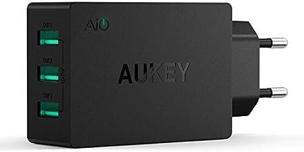 Aukey ® PA-16 Cargador Pared europeo AIPower Tech (30W / 6A) con Adaptador USB (3 puertos), color negro
