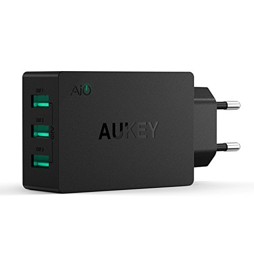 AUKEY Cargador USB de Pared con Tecnología AiPower Enchufe europeo para iPad Air / Air 2, iPad Mini; iPhone 6 Plus / 6 / 5S, Samsung Galaxy S7 / S6 / Note 5, Samsung Tab y otros dispositivos USB