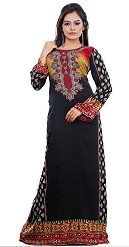 Trendyfashionmall Women'S Long Sleeve Soft Printed Kaftan Abaya 2Xl (46) Black