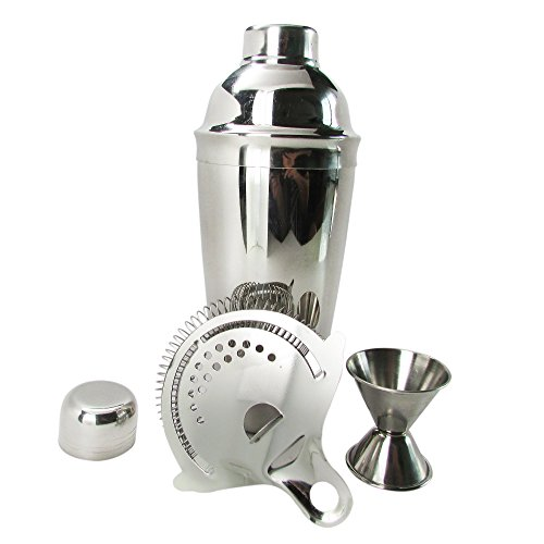 Cocktail Shaker 24 oz. Jigger Measuring Cup and Drink Strainer Set. Stainless Steel Bar Tools. Create Delicious Beverages with this Lifetime Guarantee Kit.