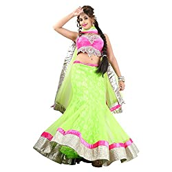 Aagaman Fashions Net Lehenga Choli (TSSF10005_Green)