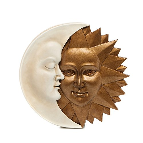 Design Toscano NG32758 Celestial Harmony Sun and Moon Wall Sculpture in Ivory and Gold